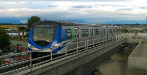 Skytrain arriving at Vancouver Airport