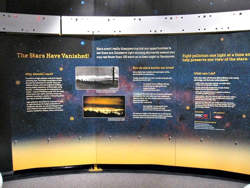 Stars and pollution display at the H.R. MacMillan Space Centre