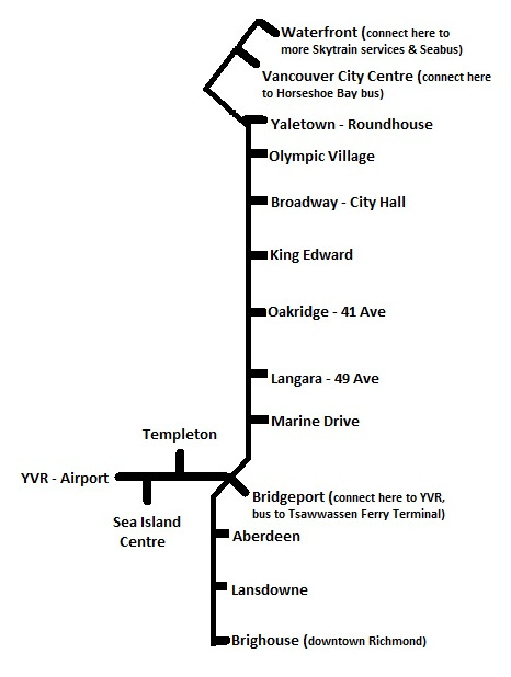 Vancouver Airport Skytrain Map - YVR Skytrain to Downtown Vancouver on abq map, lhr map, gru map, tpa map, mke map, man map, ind map, vancouver map, pbi map, stl map, rdu map, seattle bus tunnel map, yyz map, mdw map, cmh map, san map, mci map, hnl map, ewr map,