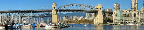 Burrard bridge from granville island